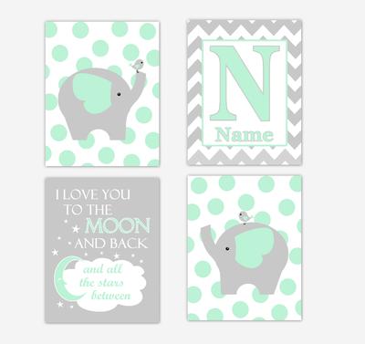 Mint Green Elephants Baby Nursery Wall Art Prints Personalized Baby Nursery Decor I Love You To The Moon Gender Neutral Baby Decor