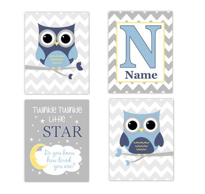 Blue Yellow Owls Baby Boy Nursery Wall Art Prints Personalized Baby Nursery Decor Dream Twinkle Little Star