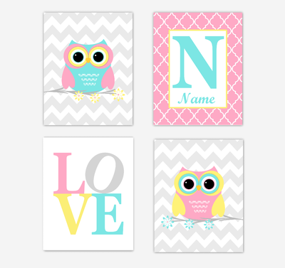Owls Baby Girl Nursery Wall Art Prints Personalized Baby Nursery Decor Pink Aqua Teal Yellow LOVE