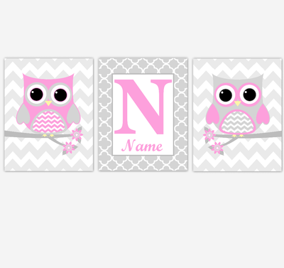 Pink Owls Baby Girl Nursery Wall Art Prints Personalized Baby Nursery Decor Birds