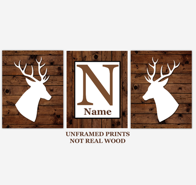 Deer Wall Art Prints Rustic Farmhouse Style Personalized Home Decor Baby Boy Bedroom Decor Woodland Animals