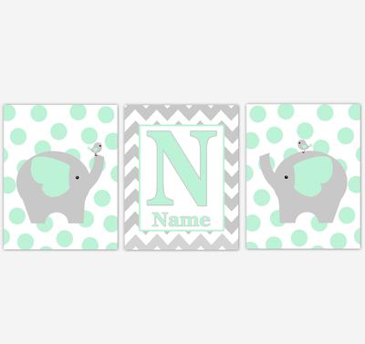 Mint Elephants Baby Nursery Wall Art Prints Personalized Baby Nursery Decor Safari Animals Gender Neutral Green Gray