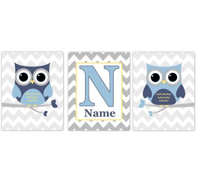 Owl Baby Boy Nursery Wall Art Navy Blue Yellow Gray Personalized Baby Nursery Decor