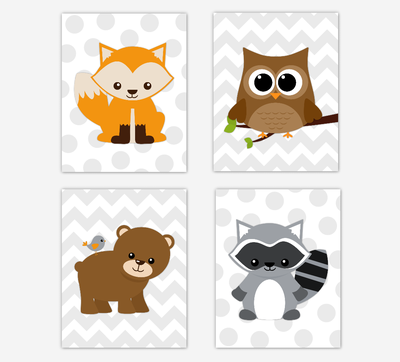 Woodland Animals Baby Boy Nursery Wall Art Prints Fox Owl Raccoon Bear Playroom Prints Baby Nursery Decor