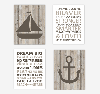 Nautical Baby Boy Nursery Wall Art Prints Rustic Farmhouse Style Sailboat Anchor Baby Nursery Decor Brown Beige Greigelways Remember You Are Braver