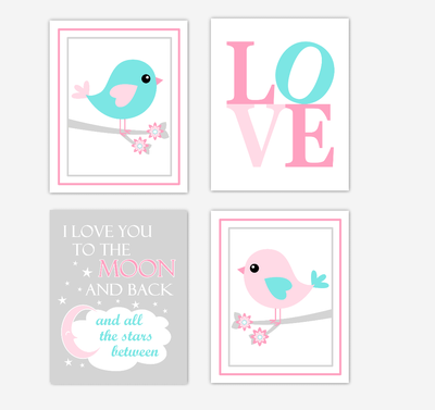 Birds Baby Girl Nursery Wall Art Prints Pink Aqua Teal LOVE Baby Nursery Decor I Love You To The Moon and Back