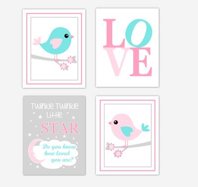 Birds Baby Girl Nursery Wall Art Prints Pink Aqua Teal LOVE Baby Nursery Decor Twinkle Twinkle Little Star