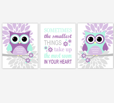 Owl Baby Girl Nursery Wall Art Prints Purple Mint Lavender Birds Baby Nursery Decor Sometimes The Smallest Things