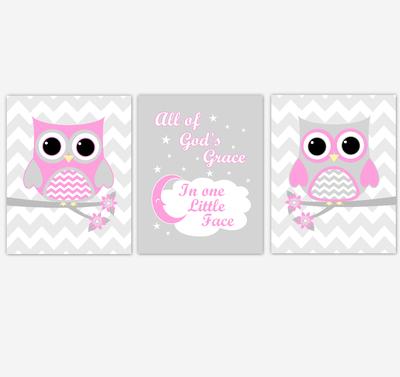 Owl Baby Girl Nursery Wall Art Pink Gray Birds Nursery Rhyme Baby Nursery Decor All Of God Grace