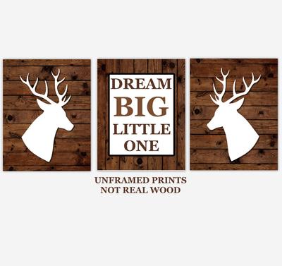Deer Baby Boy Nursery Wall Art Woodland Animals Dream Big Little One Farmhouse Baby Nursery Decor