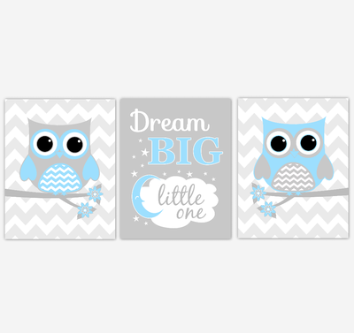 Owl Baby Boy Nursery Wall Art Blue Gray Birds Dream Big Little One Baby Nursery Decor Prints