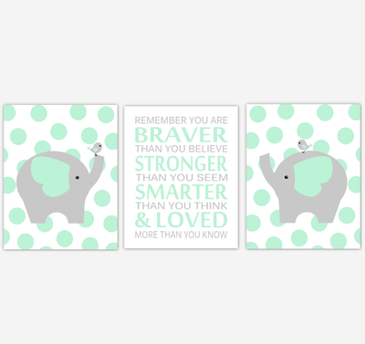 Elephant Baby Nursery Wall Art Mint Green Gray Birds Gender Neutral Safari Animals Boy Girl Baby Nursery Decor Prints