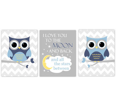 Owls Baby Boy Nursery Wall Art Navy Blue Yellow Gray Birds Baby Nursery Decor Prints I Love You To The Moon And Back