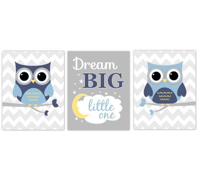 Owls Baby Boy Nursery Wall Art Navy Blue Yellow Gray Birds Baby Nursery Decor Prints Dream Big Little One