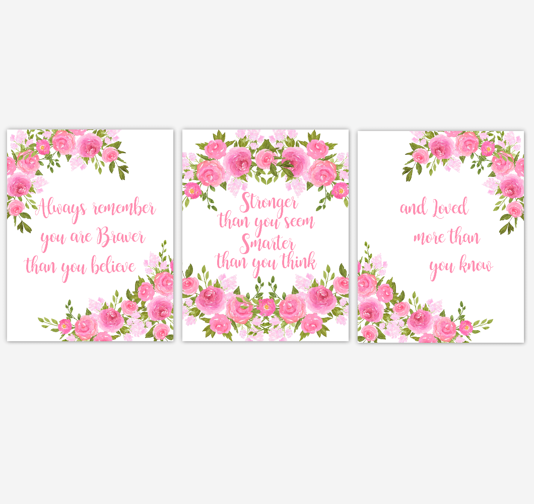 Pink Peonies Floral Watercolor Flower Wall Art Baby Girl Nursery Pink Shades Floral Wall Art Prints Home Decor SET OF 3 UNFRAMED PRINTS