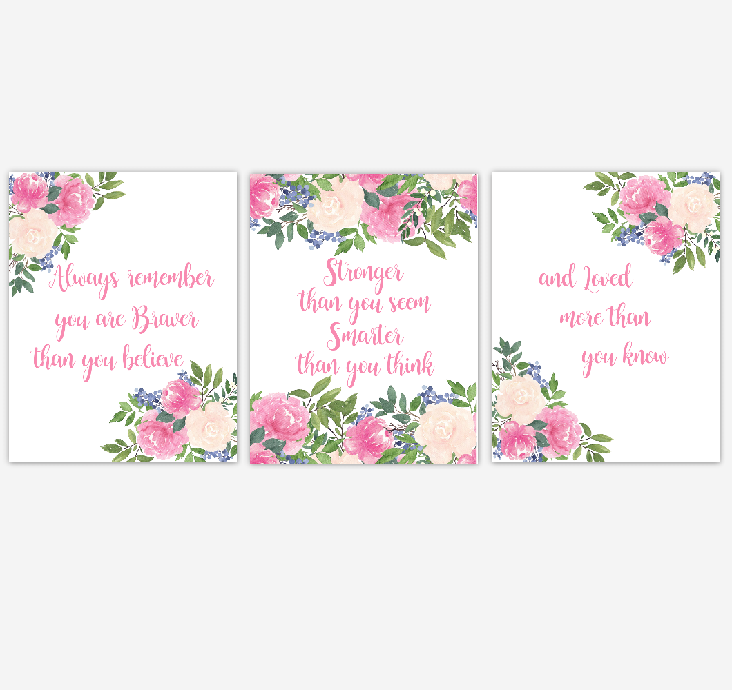 Pink Floral Watercolor Flower Wall Art Baby Girl Nursery PinWatercolor Flower Wall Art Baby Girl Nursery Pink Floral Wall Art Prints Home Decor SET OF 3 UNFRAMED PRINTS 01893