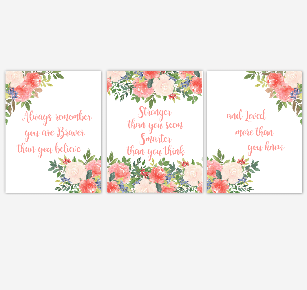 Watercolor Flower Wall Art Baby Girl Nursery Coral Floral Wall Art Prints Home Decor SET OF 3 UNFRAMED PRINTS