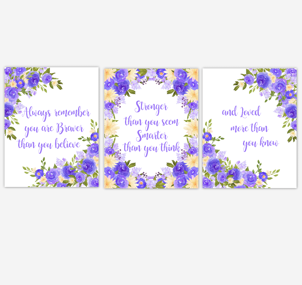Watercolor Flower Wall Art Baby Girl Nursery Purple Yellow Floral Wall Art Prints Home Decor SET OF 3 UNFRAMED PRINTS 01895
