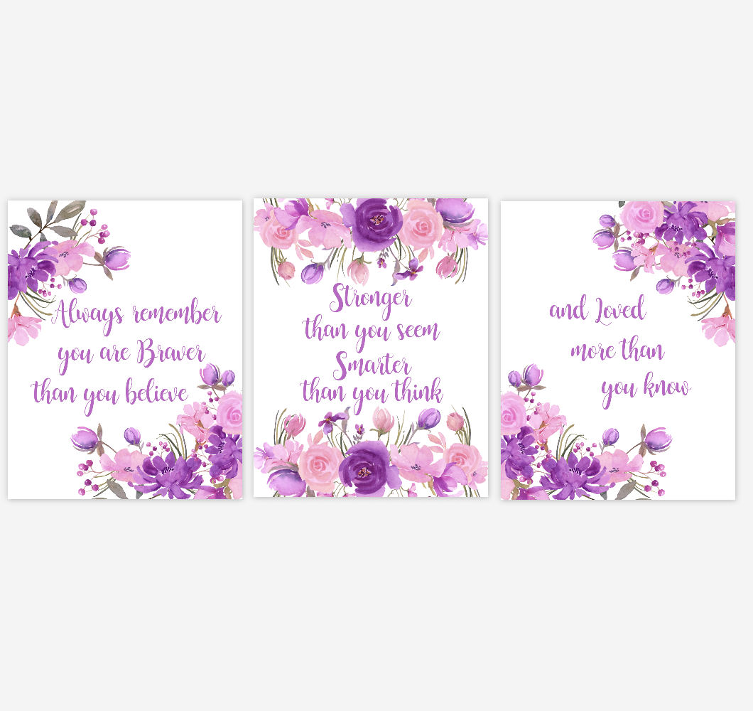 Watercolor Flower Wall Art Baby Girl Nursery Purple Pink Floral Wall Art Prints Home Decor SET OF 3 UNFRAMED PRINTS 01896