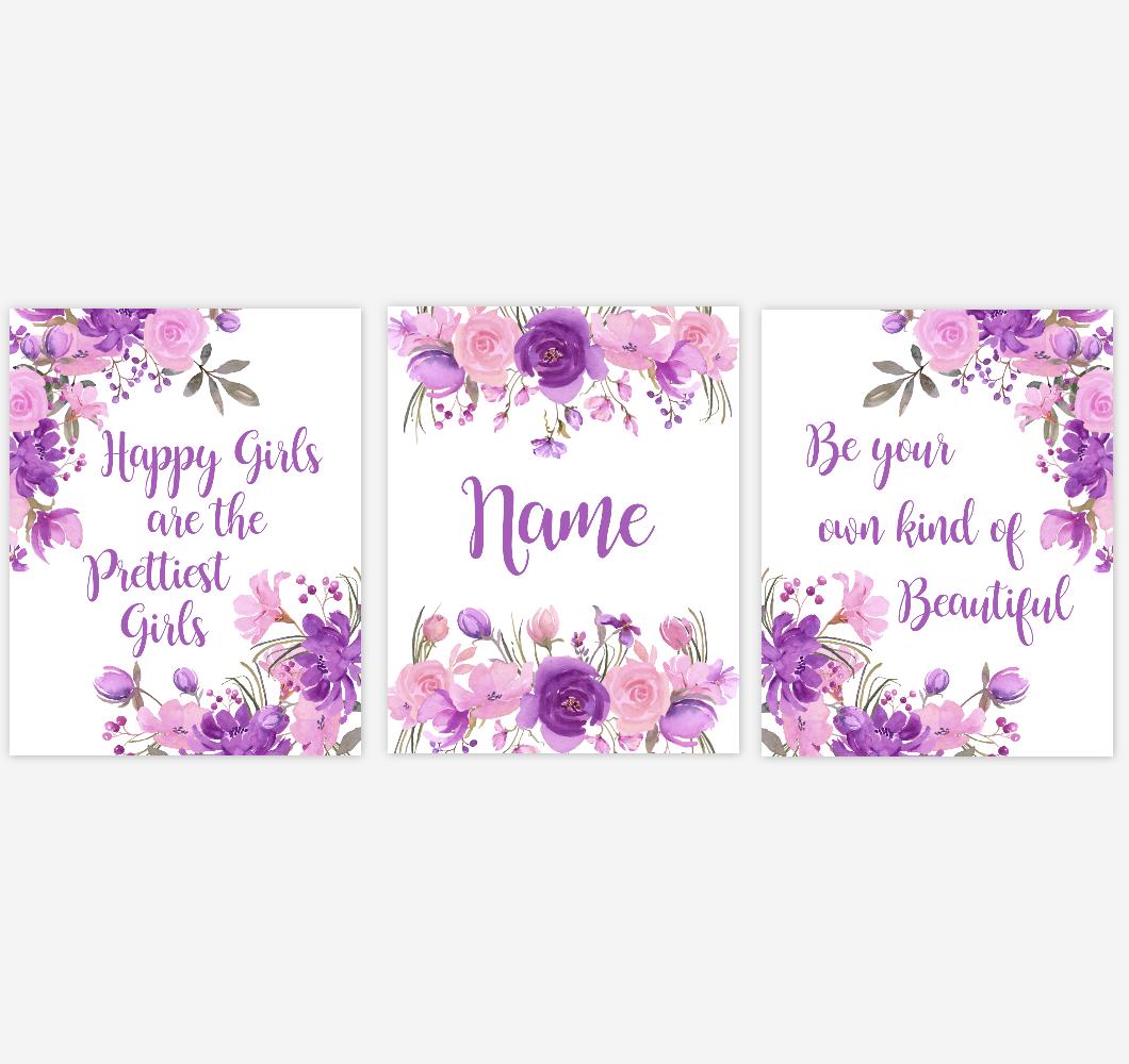 Watercolor Flower Baby Girl Nursery Wall Art Purple Pink Floral Bedroom Art Prints Baby Nursery Decor SET OF 3 UNFRAMED PRINTS