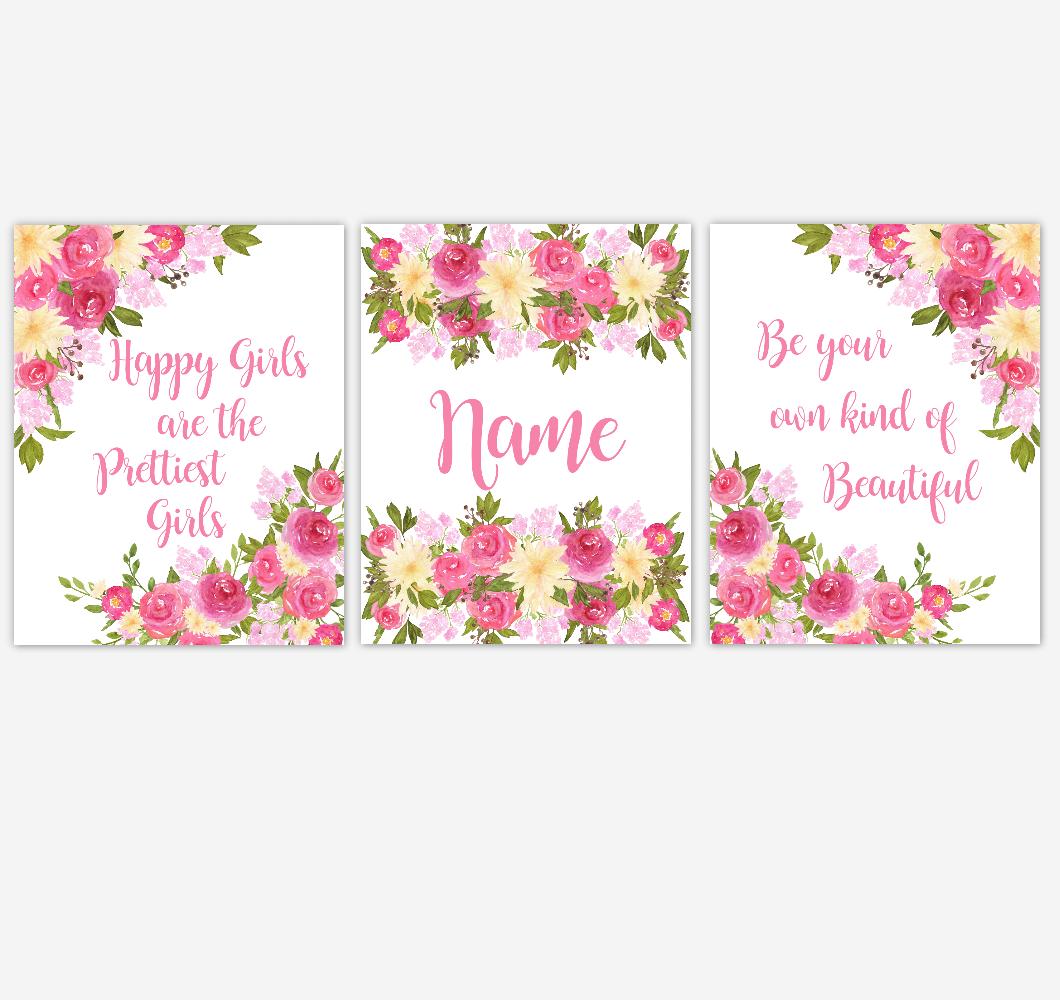 Watercolor Flower Wall Art Pink Yellow Floral Girl Bedroom Art Prints Baby Nursery Decor SET OF 3 UNFRAMED PRINTS 01900