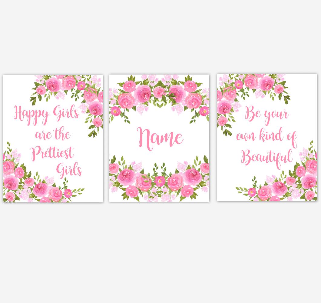 Watercolor Flower Wall Art Pink Floral Girl Bedroom Art Prints Baby Nursery Decor SET OF 3 UNFRAMED PRINTS 01901