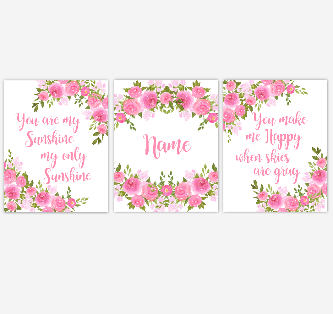 Watercolor Flower Wall Art Pink Floral Girl Bedroom Art Prints Baby Nursery Decor SET OF 3 UNFRAMED PRINTS
