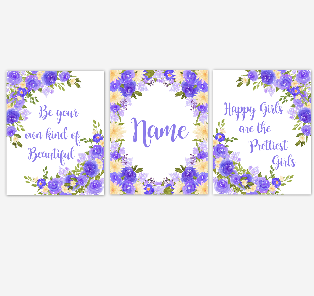 Watercolor Flower Wall Art Purple Yellow Floral Girl Bedroom Art Prints Baby Nursery Decor SET OF 3 UNFRAMED PRINTS 01908