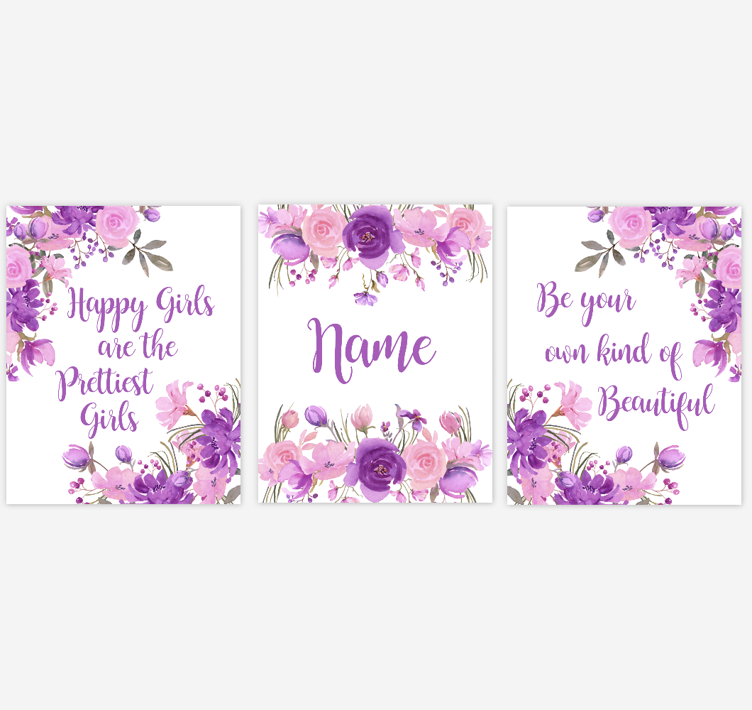 Watercolor Flower Wall Art Purple Pink Floral Girl Bedroom Art Prints Baby Nursery Decor SET OF 3 UNFRAMED PRINTS
