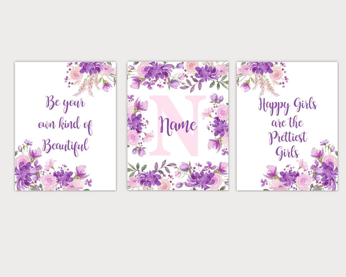 Watercolor Flower Wall Art Purple Pink Floral Girl Bedroom Art Prints Baby Nursery Decor SET OF 3 UNFRAMED PRINTS 01911