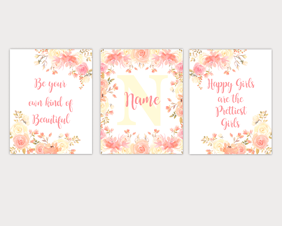 Floral Watercolor Flower Wall Art Coral Yellow Floral Girl Bedroom Art Prints Baby Nursery Decor SET OF 3 UNFRAMED PRINTS 01912