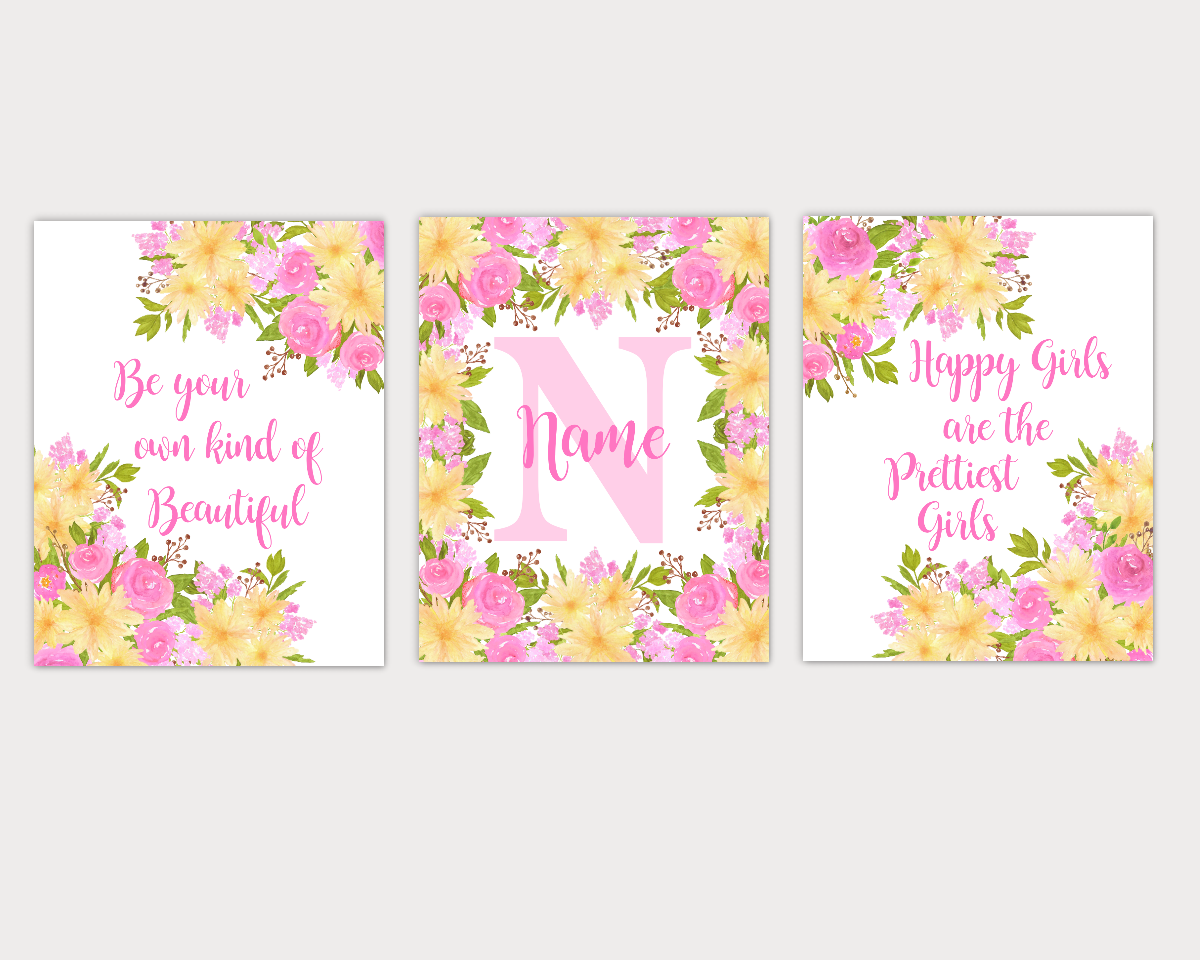 Floral Watercolor Flower Wall Art Pink Yellow Floral Girl Bedroom Art Prints Baby Nursery Decor SET OF 3 UNFRAMED PRINT 01914