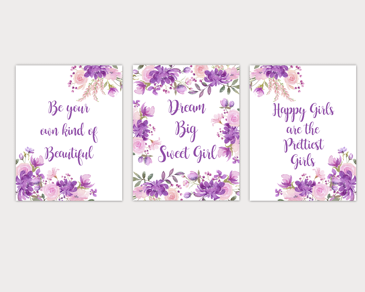 Watercolor Flower Wall Art Baby Girl Nursery Purple Pink Floral Wall Art Prints Home Decor SET OF 3 UNFRAMED PRINTS 01916