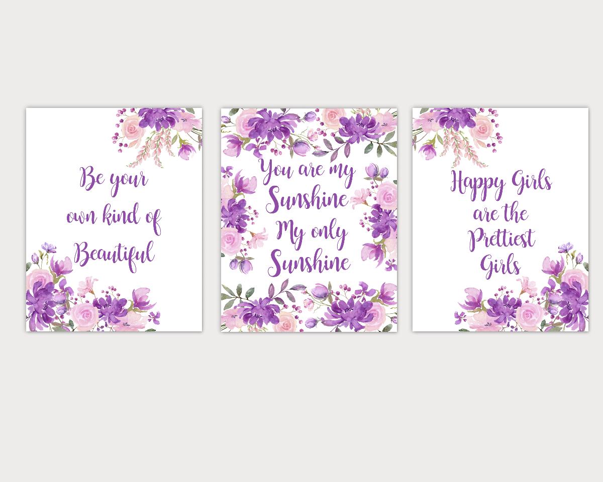 Watercolor Flower Wall Art Baby Girl Nursery Purple Pink Floral Wall Art Prints Home Decor SET OF 3 UNFRAMED PRINTS 01917