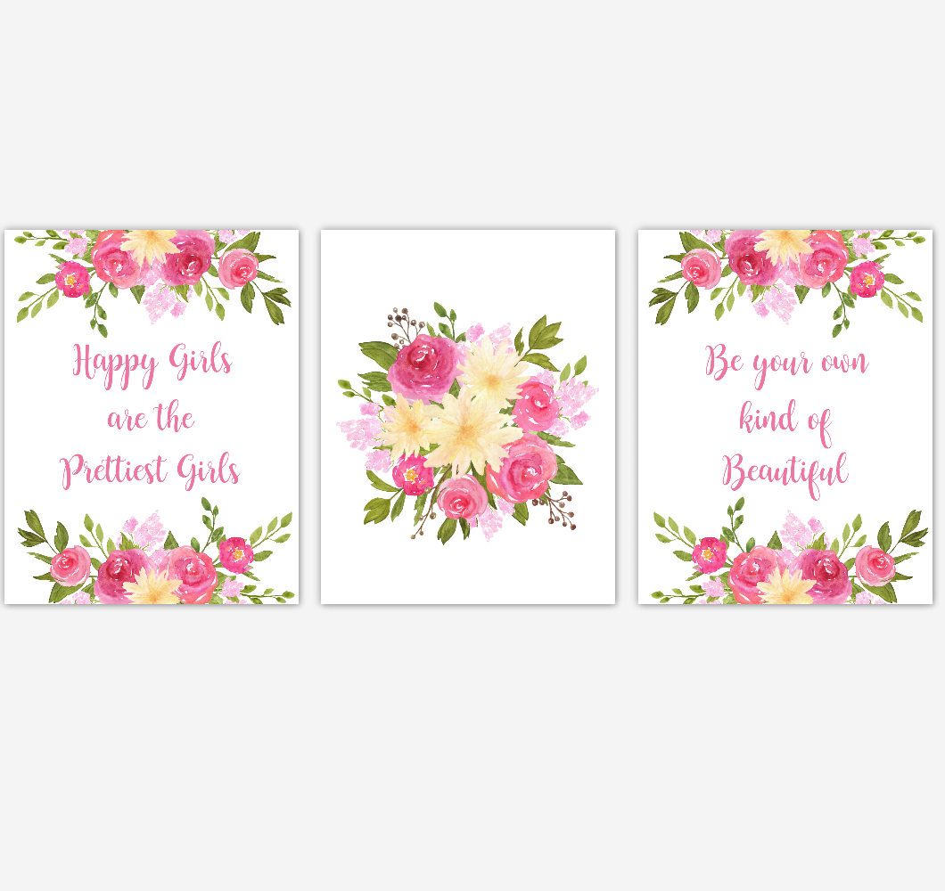 Baby Girl Nursery Wall Art Watercolor Floral Pink Yellow Flower Prints Baby Nursery Decor SET OF 3 UNFRAMED PRINTS 01919