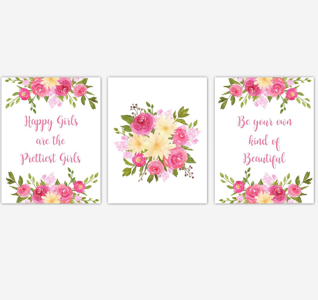 Baby Girl Nursery Wall Art Watercolor Floral Pink Yellow Flower Prints Baby Nursery Decor SET OF 3 UNFRAMED PRINTS