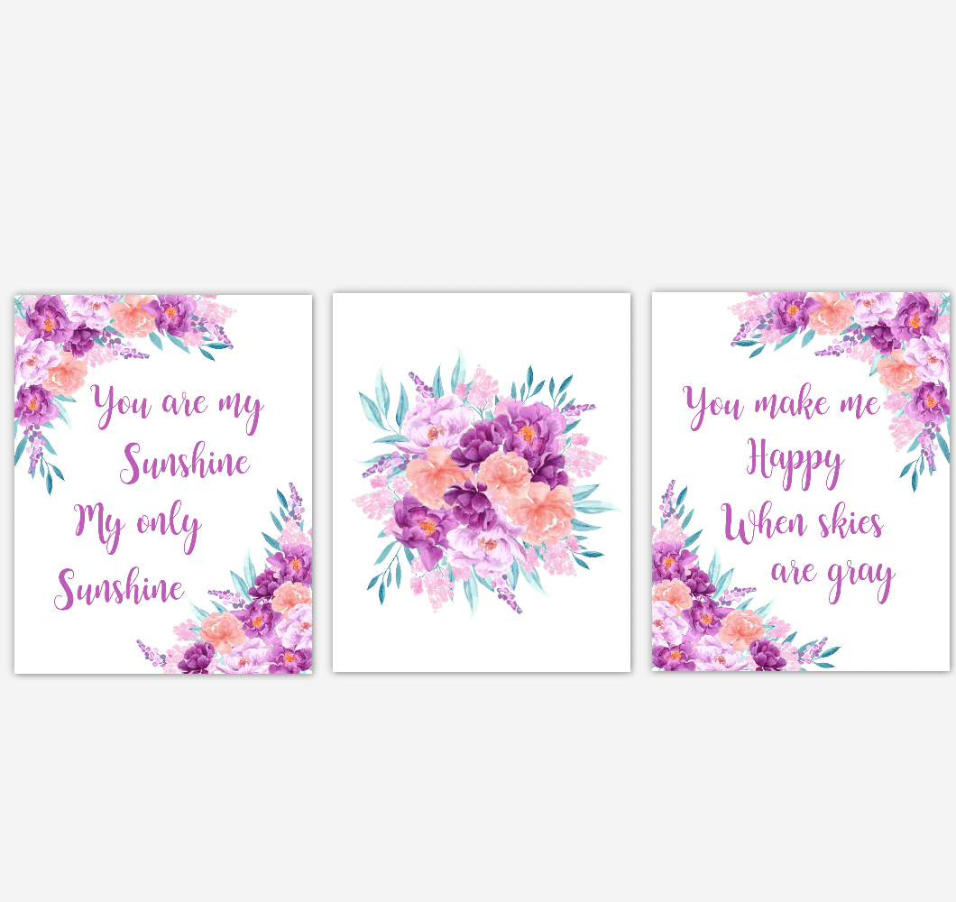 Baby Girl Nursery Wall Art Watercolor Floral Purple Coral Peach Flower Prints Baby Nursery Decor SET OF 3 UNFRAMED PRINTS