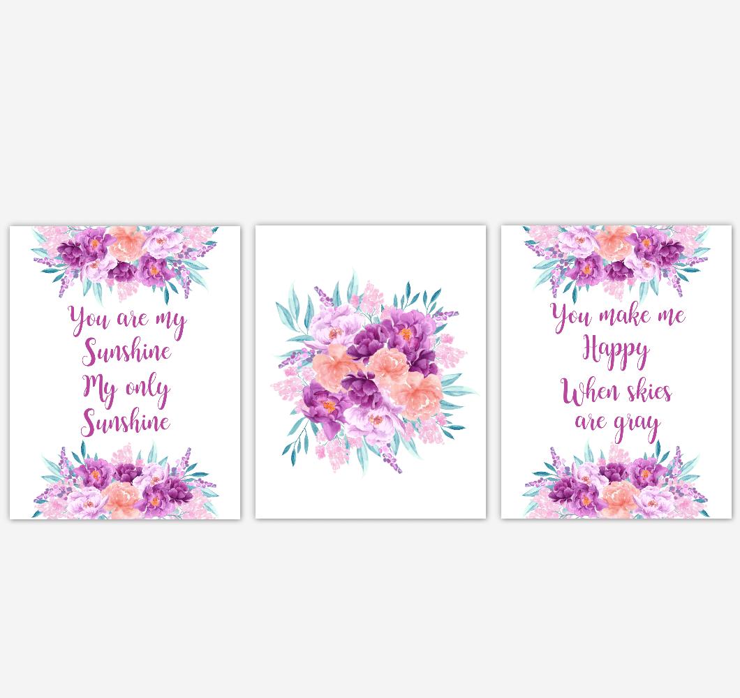 baby girl nursery wall art watercolor floral purple coral peach