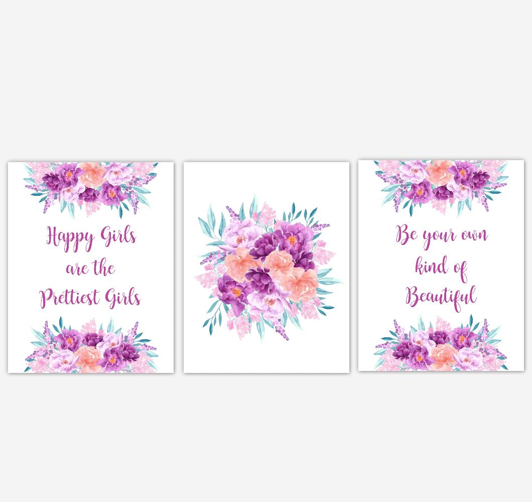 Baby Girl Nursery Wall Art Watercolor Floral Purple Coral Peach Flower Prints Baby Nursery Decor SET OF 3 UNFRAMED PRINTS 01922