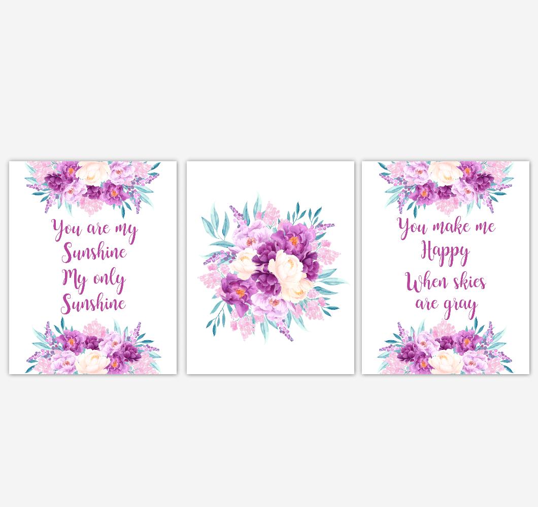 Baby Girl Nursery Wall Art Watercolor Floral Purple Flower Baby Nursery Decor SET OF 3 UNFRAMED PRINTS 01923