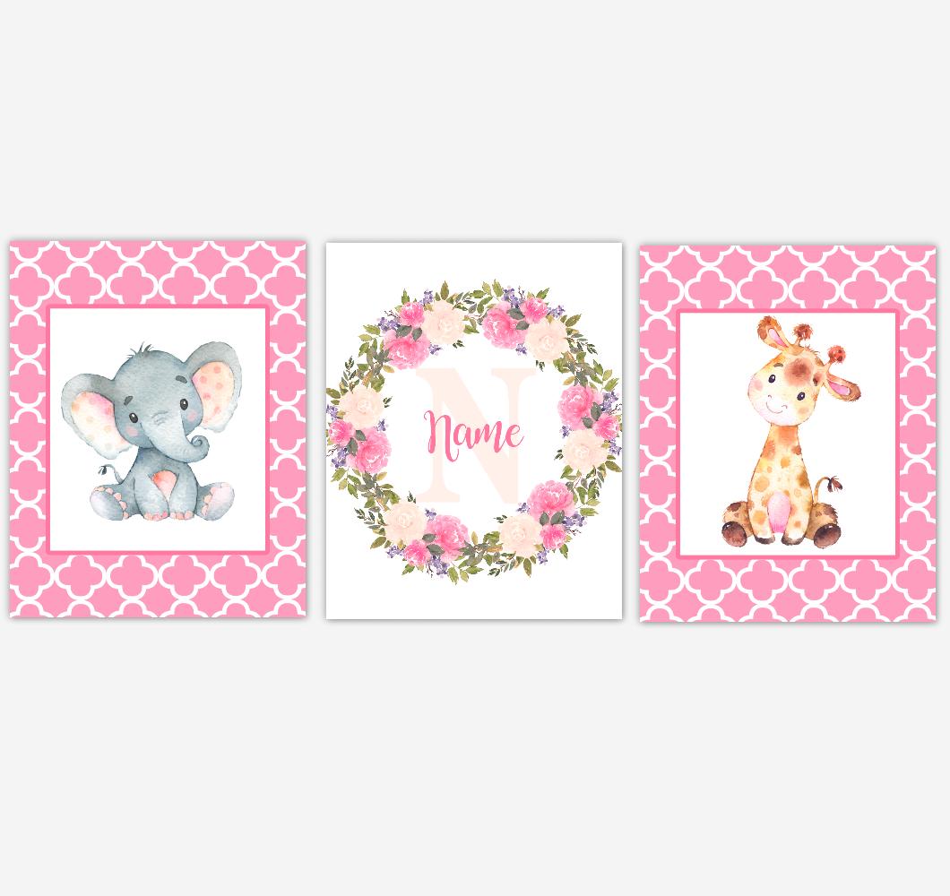 Baby Girl Nursery Wall Art Elephant Giraffe Safari Pink Floral Flowers Personalized Baby Nursery Decor SET OF 3 UNFRAMED PRINTS 01924