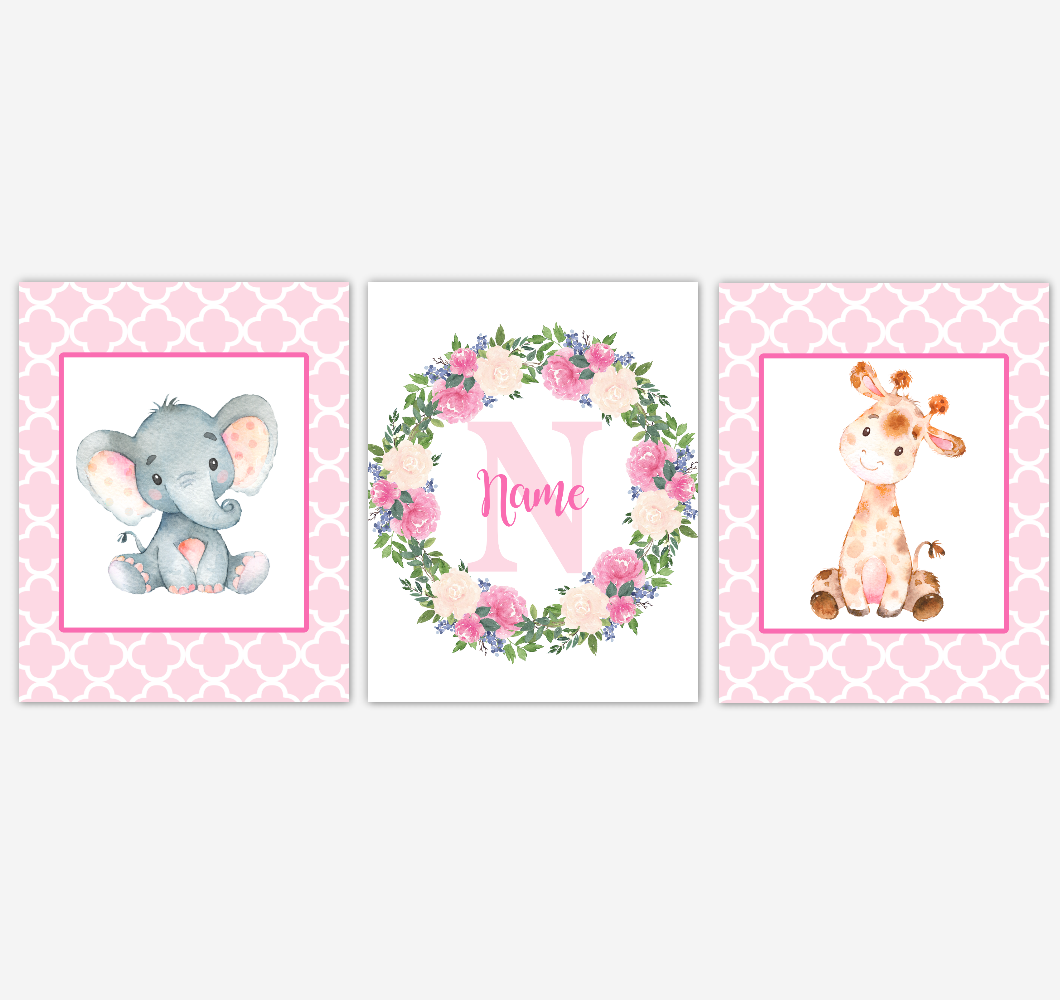 Baby Girl Nursery Wall Art Elephant Giraffe Safari Pink Floral Flowers Personalized Baby Nursery Decor SET OF 3 UNFRAMED PRINTS