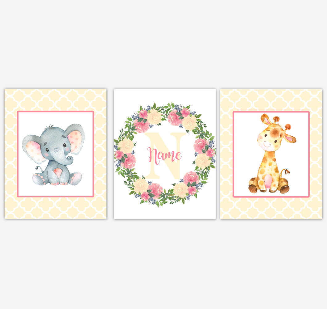 Baby Girl Nursery Wall Art Elephant Giraffe Safari Pink Yellow Floral Flowers Personalized Baby Nursery Decor SET OF 3 UNFRAMED PRINTS
