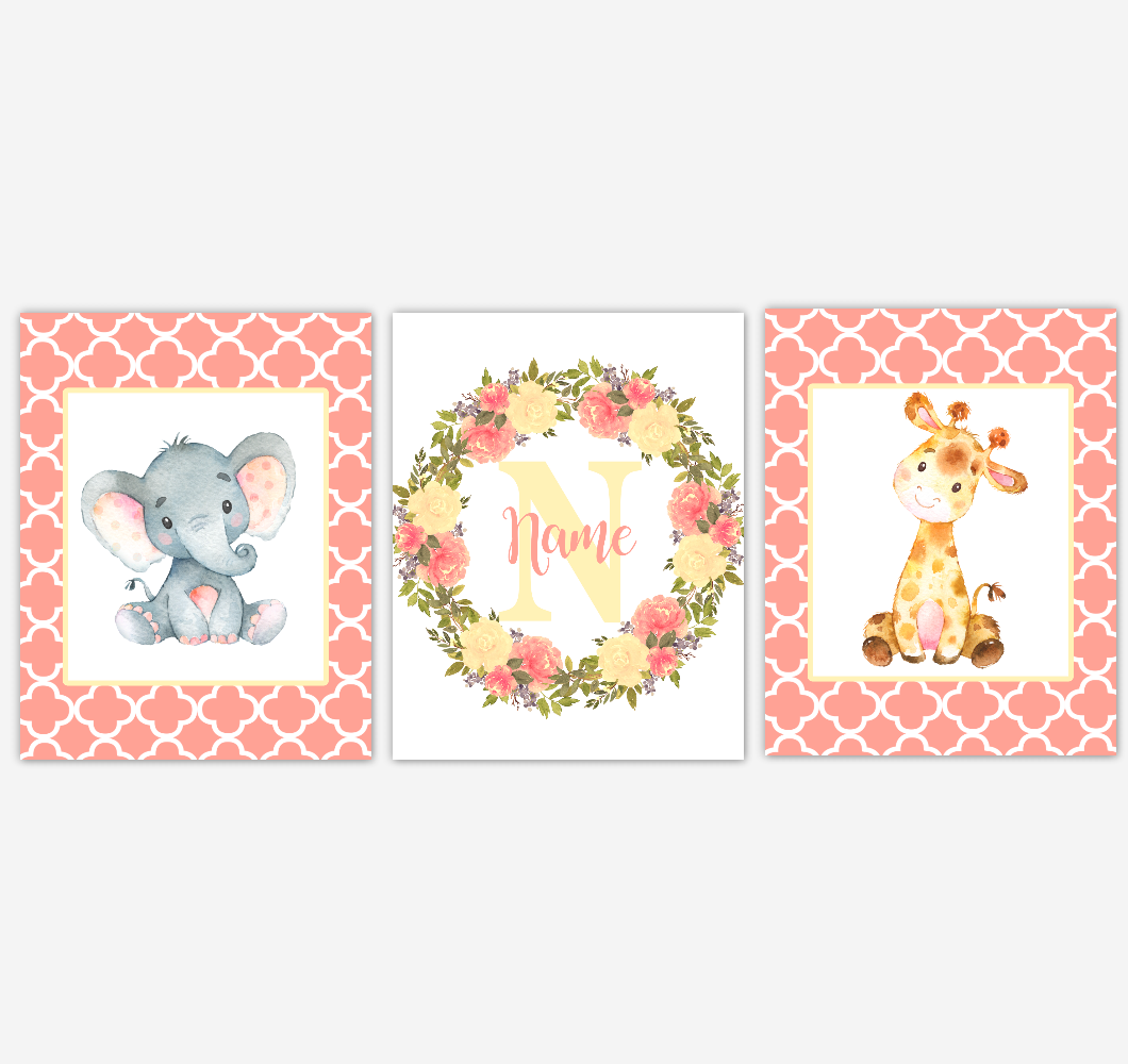 Baby Girl Nursery Wall Art Elephant Giraffe Safari Coral Peach Yellow Floral Flowers Personalized Baby Nursery Decor SET OF 3 UNFRAMED PRINTS