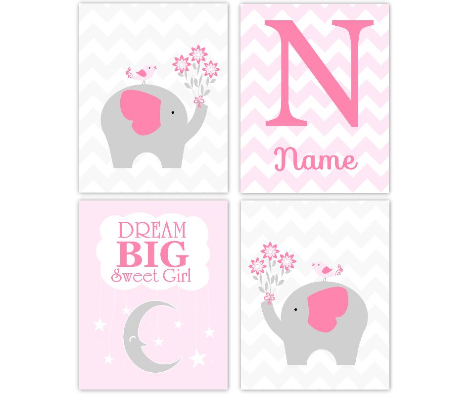 ELEPHANT Baby Girl Nursery Wall Art Pink Gray Dream Big Personalized ...