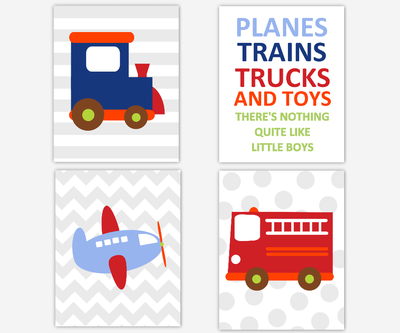 Baby Boy Nursery Wall Art Transportation Train Car Fire Truck Plane Airplane Quotes for Boys Room Prints SET OF 4 UNFRAMED PRINTS