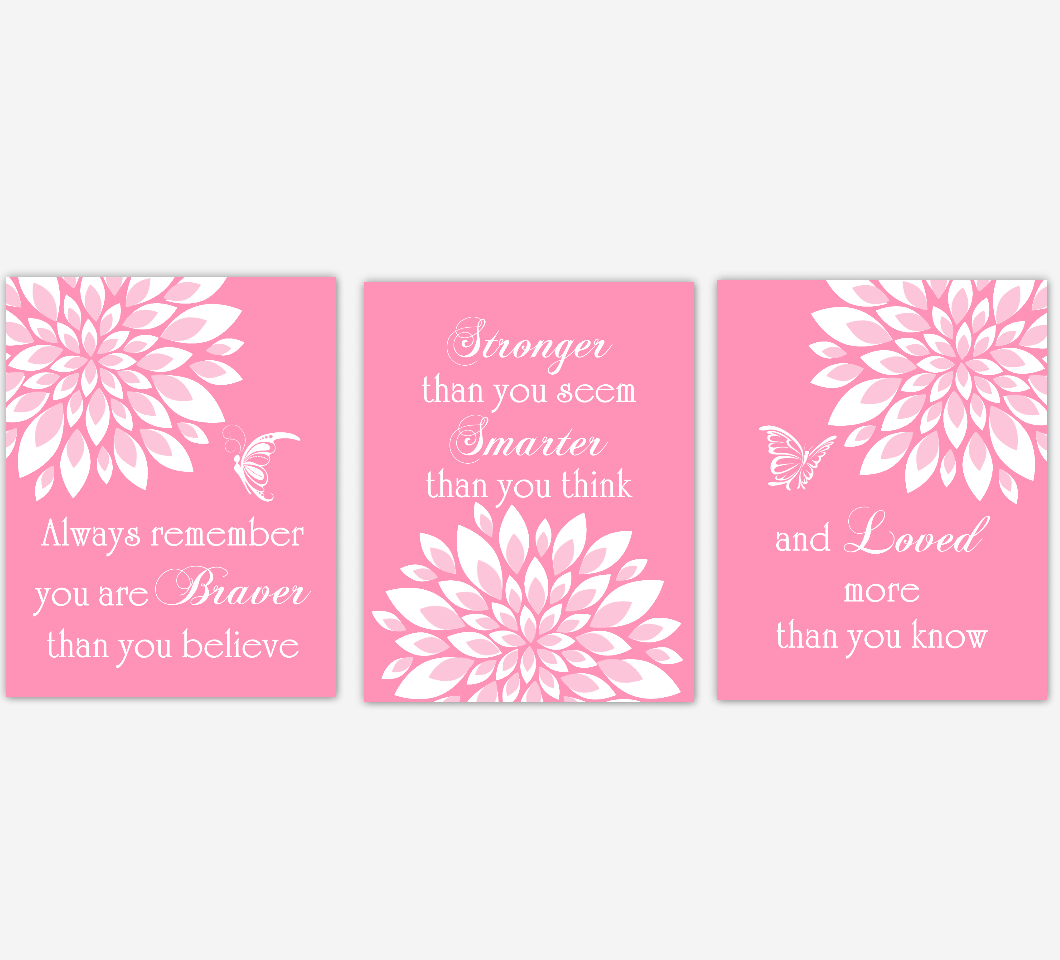 Baby Girl Nursery Wall Art Pink Dahlia Mum Flower Floral Butterfly Prints Baby Nursery Decor SET OF 3 UNFRAMED PRINTS