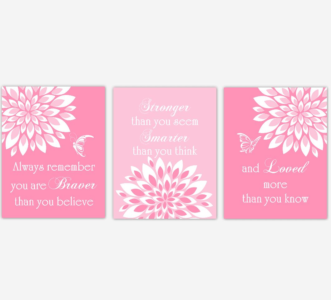 Baby Girl Nursery Wall Art Pink Dahlia Mum Flower Floral Butterfly Prints Baby Nursery Decor SET OF 3 UNFRAMED PRINTS
