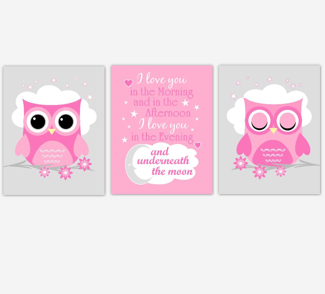 Baby Girl Nursery Wall Art Pink Owls Prints Baby Nursery Decor SET OF 3 UNFRAMED PRINTS 01941