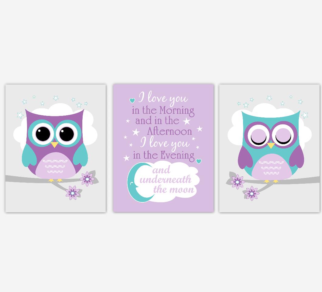 Baby Girl Nursery Wall Art Purple Teal Owls Prints Baby Nursery Decor SET OF 3 UNFRAMED PRINTS 01942
